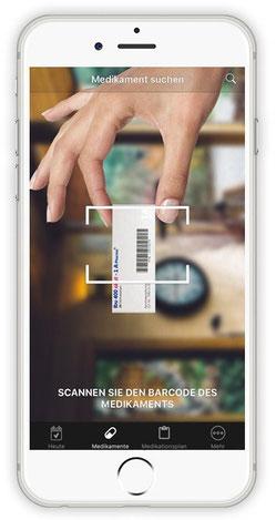 Smartphone mit Bild der Scanfunktion der App