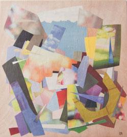 Ellen Roß, Sommer 2, 2012, Papiercollage auf Holz, 25 x 27 cm
