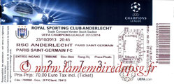 Ticket  Anderlecht-PSG  2013-14