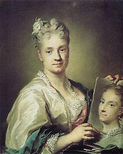 Autoportrait : Rosalba Carriera tenant un portrait de sa sœur (1715).