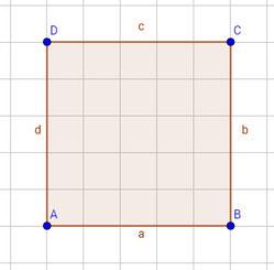 Quadrat mit eingezeichneten Bezeichnungen für Punkte und Seiten