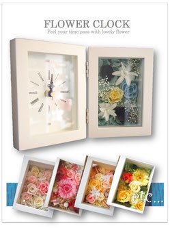 お祝いプレゼントに贈りたいプリザーブドフラワー花時計