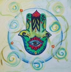 """Die Hand von Fatima, Schutz vor bösen Geistern, #Buddhismus Werk 09 Serie """"Glück und Zufriedenheit"""" by Atelier Zippo"""