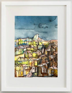 Paesaggio Lucano, 2020, Acquerello, Inchiostro su carta, 20 X 30