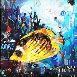 "Dehtiar Svetlana, ""Tiefe 1"", Collage, 50 x 50 cm, 2012, gerahmt"