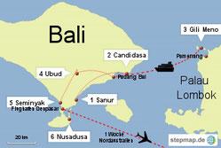 Bild: Karte Bali und Lombok