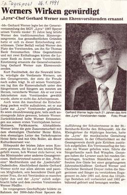 Gerhard Werner zum Ehrenvorsitzenden ernannt
