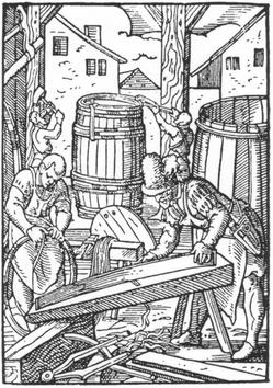 Böttcher bei der Arbeit an Fässern, Holzschnitt (16. Jh.)
