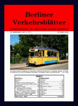 Berliner Verkehrsblätter. Titel Oktober 2018.