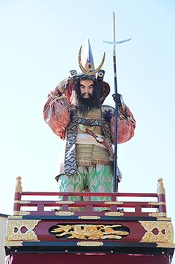 加藤清正(かとう きよまさ)慶長元年の地震の被害状況を眺めている姿