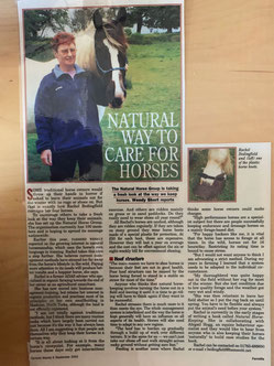 Article clipping Rachel Bedingfield Natural care for Horses