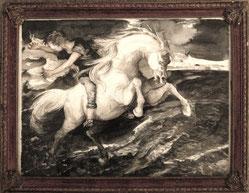 """""""Springender Kelpie"""", 24 x 31 cm, Aquarell und Stifte,  2010"""