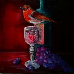 39.Robin afternoon wine 30x30cm l