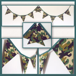 Army camo woodland camouflage military soldier bunting fabric flags banner garland birthday party bedroom hideout den woods camp oy gift
