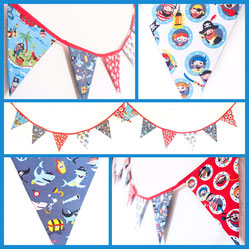 pirate themed bunting fabric flags banner garland kids bedroom decor decoration wall hanging birthday party