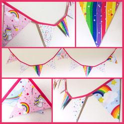 unicorn rainbow bright pink bunting fabric flags banner garland hearts stars girl birthday party decor bedroom decoration fantasy gift nursery