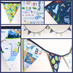 dinosaur bunting fabric flags banner garland roar prehistoric jurassic park paty birthday nursery boys bedroom gift