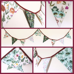 woodland animal bunting fabric flags garland banner party kids bedroom decor hedgehog forest frog squirrell bird rabbit mushrrom trees foliage creatures nursery decoration wall hanging autumn