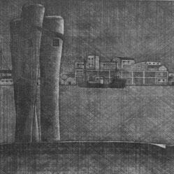 月島 (杭) -部分-     メゾチント / 1951