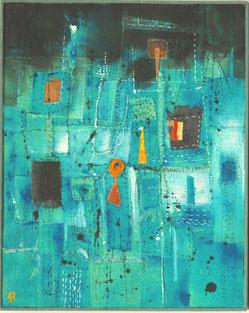 水の中の街 (2013)          アクリル・コラージュ / 25.5x20.5cm