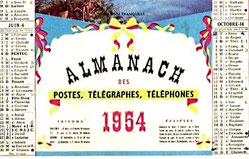 Calendrier des PTT 1954