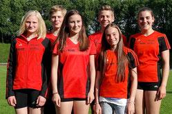 Erfolgreiches Team der LG Wittgenstein: Milena Schmidt, Jonathan Schröder, Pauline Knebel, Jannis Kozian, Malin Böhl und Wiebke Aderhold.