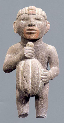 Aztekenfigur mit Kakaobohne. Bild: National Antropology and History Museum of Mexico.**