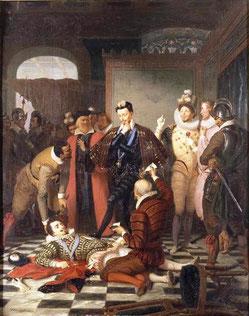Meurtre du duc de Guise par Creator:Charles Durupt (1804-1838) .www.photo.rmn.fr/cf/htm/CSearchZ.aspx?o=&Total=7&FP=2782027&E=2K1KTSGRXOMV8&SID=2K1KTSGRXOMV8&New=T&Pic=2&SubE=2C6NU042KYL4. Sous licence Do