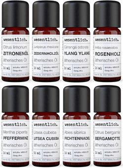 Ätherische Öle Set No. 2 (Basisdüfte) von wesentlich.  - Hochwertige Naturkosmetik Produkte