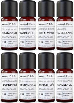 Ätherische Öle Set No. 1 (Basisdüfte) von wesentlich. - Hochwertige Naturkosmetik Produkte
