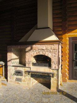 открытая терраса с печью для казана магалом барбекю у бани