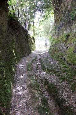 Noch ein Hohlweg, der in einen sonnigen Talweg mündet