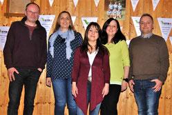 Die neu gewählte Vorstandschaft des TV Hohen-klingen, v.l.n.r. Vorsitzender Lothar Frick, Kassiere-rin Tanja Wenzdorfer, 3. Vorsitzende Sabina Naranjo, Schriftführerin Tanja Höckele, 2. Vorsit-zender Guido Höckele.