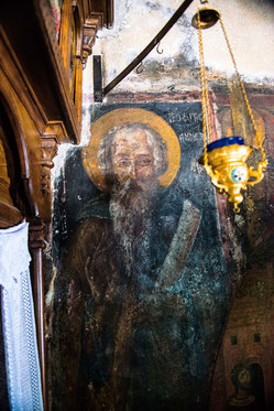 Fresko des Propheten Amos in Faliraki, Rhodos