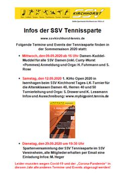 Veranstaltungen der SSV Tennissparte September 2020