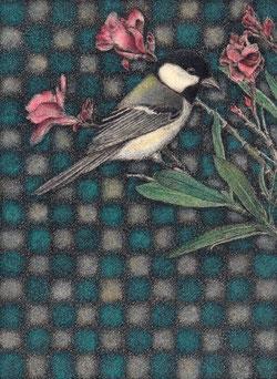 「シジュウカラと夾竹桃」 細密ペン画 150×110㎜