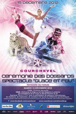 Coupe du Monde Feminin Ski Alpin FIS Courchevel 2012 Audi Fis World Cup photos videos demonstrations aeriennes aigles Courchevel  Spectacle glace et feu ceremonie des dossards presse hiver  2012