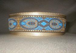 Halsband, Hund, Martingale 4cm breit, Gurtband olivgrün, Borte mit Herbstlaub