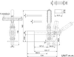 Zeichnung Senkrechtspanner Vertikalspanner mit waagrechtem Fuß CH-12130 CH-12135 T-Handgriff