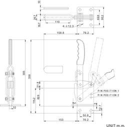 Zeichnung Senkrechtspanner Vertikalspanner mit waagrechtem Fuß CH-101-J 101-JSB