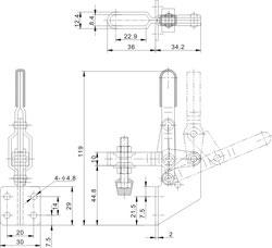 Zeichnung Senkrechtspanner Vertikalspanner mit Winkelfuß CH-101-B