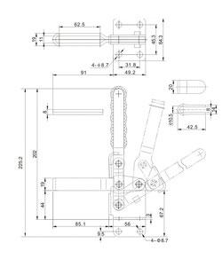 Zeichnung Senkrechtspanner Vertikalspanner mit waagrechtem Fuß CH-12265 CH-12270