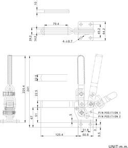Zeichnung Senkrechtspanner Vertikalspanner mit waagrechtem Fuß CH-12247 CH-12248
