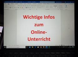 WICHTIGE INFOS ZUM ONLINE-UNTERRICHT