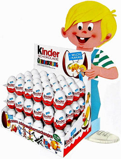 Abbildung: Ferrero-Junge mit Thekendisplay aus den 70er Jahren