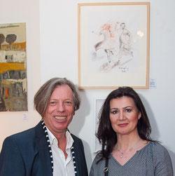 Gazmend Freitag, Maler und Mag. Valbona Reinmüller, akad. Balkanologin, Dolmetscherin und Übersetzerin , Wien, 2017. Photo: Ron Böhme