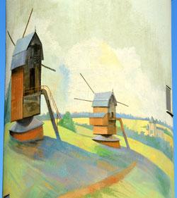 Détail de la fresque: les moulins de Naours