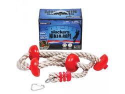 Matériel de jeu Ninja line corde avec repose-pieds. Matériel à acheter pas cher comprend une corde de ninjaline corde avec repose pieds à prix discount.