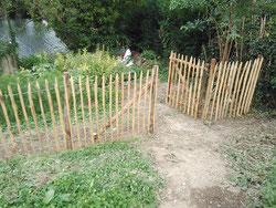 pose d'une clôture en ganivelle