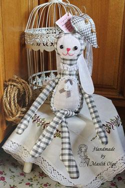 текстильный заяц, игрушки Маслик Ольги